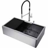 VIGO All-In-One 36'' Oxford Single Bowl Apron Front Stainless Steel Farmhouse Kitchen Sink Set with Accessories and Norwood Faucet in Stainless Steel
