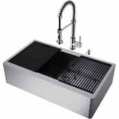 VIGO All-In-One 36'' Oxford Single Bowl Apron Front Stainless Steel Farmhouse Kitchen Sink Set with Accessories and Edison Faucet in Stainless Steel
