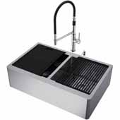 All-In-One 33'' Oxford Double Bowl Apron Front Stainless Steel Farmhouse Kitchen Sink Set with Norwood Faucet in Stainless Steel, Cutting Board, Drying Rack, Strainers, Drain Cover, Bottom Grids and Soap Dispenser