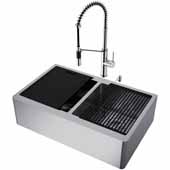 All-In-One 33'' Oxford Double Bowl Apron Front Stainless Steel Farmhouse Kitchen Sink Set with Livingston Faucet in Stainless Steel, Cutting Board, Drying Rack, Strainers, Drain Cover, Bottom Grids and Soap Dispenser