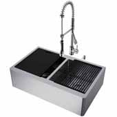 All-In-One 33'' Oxford Double Bowl Apron Front Stainless Steel Farmhouse Kitchen Sink Set with Zurich Faucet in Stainless Steel, Cutting Board, Drying Rack, Strainers, Drain Cover, Bottom Grids and Soap Dispenser