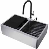 All-In-One 33'' Oxford Double Bowl Apron Front Stainless Steel Farmhouse Kitchen Sink Set with Greenwich Faucet in Matte Black, Cutting Board, Drying Rack, Strainers, Drain Cover, Bottom Grids and Soap Dispenser