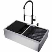 All-In-One 36'' Oxford Double Bowl Apron Front Stainless Steel Farmhouse Kitchen Sink Set with Black Livingston Faucet in Matte Black, Cutting Board, Drying Rack, Strainers, Drain Cover, Bottom Grids and Soap Dispenser