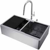 All-In-One 36'' Oxford Double Bowl Apron Front Stainless Steel Farmhouse Kitchen Sink Set with Chrome Greenwich Faucet in Chrome, Cutting Board, Drying Rack, Strainers, Drain Cover, Bottom Grids and Soap Dispenser