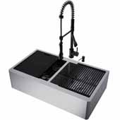 All-In-One 36'' Oxford Double Bowl Apron Front Stainless Steel Farmhouse Kitchen Sink Set with Zurich Faucet in Matte Black, Cutting Board, Drying Rack, Strainers, Drain Cover, Bottom Grids and Soap Dispenser