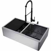 All-In-One 36'' Oxford Double Bowl Apron Front Stainless Steel Farmhouse Kitchen Sink Set with Laurelton Faucet in Matte Black, Cutting Board, Drying Rack, Strainers, Drain Cover, Bottom Grids and Soap Dispenser