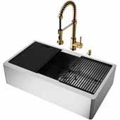 VIGO All-In-One 36'' Oxford Single Bowl Apron Front Stainless Steel Farmhouse Kitchen Sink Set with Accessories and Edison Faucet in Matte Gold
