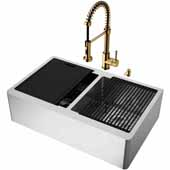 All-In-One 33'' Oxford Double Bowl Apron Front Stainless Steel Farmhouse Kitchen Sink Set with Edison Faucet in Matte Brushed Gold, Cutting Board, Drying Rack, Strainers, Drain Cover, Bottom Grids and Soap Dispenser