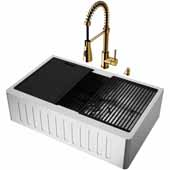 All-In-One 33'' Oxford Single Bowl Slotted Apron Front Stainless Steel Farmhouse Kitchen Sink Set with Accessories and Brant Faucet in Matte Gold