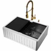 All-In-One 30'' Oxford Single Bowl Slotted Apron Front Stainless Steel Farmhouse Kitchen Sink Set with Accessories and Brant Faucet in Matte Gold