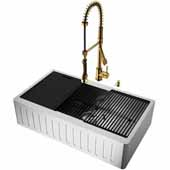 All-In-One 36'' Oxford Single Bowl Slotted Apron Front Stainless Steel Farmhouse Kitchen Sink Set with Accessories and Zurich Faucet in Matte Gold