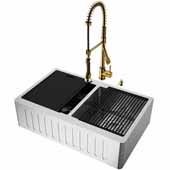 All-In-One 33'' Oxford Double Bowl Slotted Apron Front Stainless Steel Farmhouse Kitchen Sink Set with Zurich Faucet in Matte Gold, Cutting Board, Drying Rack, Strainers, Drain Cover, Bottom Grids and Soap Dispenser