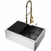 VIGO All-In-One 30'' Oxford Single Bowl Apron Front Stainless Steel Farmhouse Kitchen Sink Set with Accessories and Zurich Faucet in Matte Gold