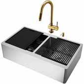 All-In-One 36'' Oxford Double Bowl Apron Front Stainless Steel Farmhouse Kitchen Sink Set with Gramercy Faucet in Matte Brushed Gold, Cutting Board, Drying Rack, Strainers, Drain Cover, Bottom Grids and Soap Dispenser