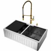 All-In-One 36'' Oxford Double Bowl Slotted Apron Front Stainless Steel Farmhouse Kitchen Sink Set with Livingston Faucet in Matte Gold, Cutting Board, Drying Rack, Strainers, Drain Cover, Bottom Grids and Soap Dispenser
