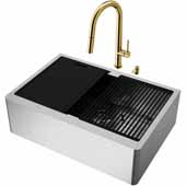 VIGO All-In-One 30'' Oxford Single Bowl Apron Front Stainless Steel Farmhouse Kitchen Sink Set with Accessories and Greenwich Faucet in Matte Gold
