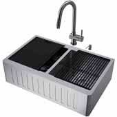 All-In-One 33'' Oxford Double Bowl Slotted Apron Front Stainless Steel Farmhouse Kitchen Sink Set with Gramercy Faucet in Graphite Black, Cutting Board, Drying Rack, Strainers, Drain Cover, Bottom Grids and Soap Dispenser