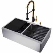 All-In-One 36'' Oxford Double Bowl Apron Front Stainless Steel Farmhouse Kitchen Sink Set with Edison Faucet in Matte Brushed Gold/Matte Black, Cutting Board, Drying Rack, Strainers, Drain Cover, Bottom Grids and Soap Dispenser