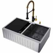 All-In-One 33'' Oxford Double Bowl Slotted Apron Front Stainless Steel Farmhouse Kitchen Sink Set with Edison Faucet in Matte Gold/Matte Black, Cutting Board, Drying Rack, Strainers, Drain Cover, Bottom Grids and Soap Dispenser