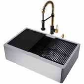 VIGO All-In-One 33'' Oxford Single Bowl Apron Front Stainless Steel Farmhouse Kitchen Sink Set with Accessories and Edison Faucet in Matte Gold/Matte Black