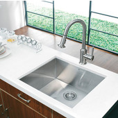 23'' Undermount Kitchen Sink, Bottom Grid, Cutting Board and Strainer, Stainless Steel Finish