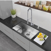 30'' Undermount Kitchen Sink, Bottom Grid, Cutting Board and Strainer, Stainless Steel Finish
