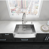 30'' Farmhouse Rectangle Stainless Steel 16 Gauge Single Bowl Kitchen Sink with Bottom Grid, Cutting Board and Strainer
