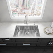 32'' Undermount Stainless Steel 16 Gauge Single Bowl Kitchen Sink with Bottom Grid, Cutting Board and Strainer