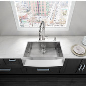 33'' Farmhouse Stainless Steel 16 Gauge Single Bowl Kitchen Sink with Bottom Grid, Cutting Board and Strainer