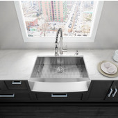 36'' Farmhouse Rectangle Stainless Steel 16 Gauge Single Bowl Kitchen Sink with Bottom Grid, Cutting Board and Strainer