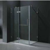 "32'' x 48"" Frameless 3/8'' Clear/Brushed Nickel Shower Enclosure"