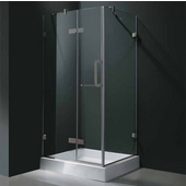 "36'' x 36"" Frameless 3/8'' Clear/Brushed Nickel Shower Enclosure with Tray/Base"