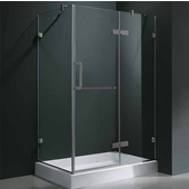 "32'' x 48"" Frameless 3/8'' Clear/Brushed Nickel Shower Enclosure with Left Tray/Base"