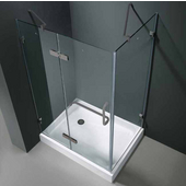 "32'' x 40"" Frameless 3/8'' Clear/Brushed Nickel Shower Enclosure with Left Tray/Base"