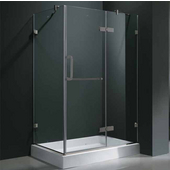32'' x 40� Frameless 3/8'' Clear/Brushed Nickel Shower Enclosure with Right Tray/Base