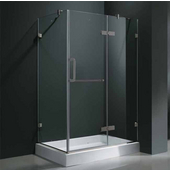 "32'' x 48"" Frameless 3/8'' Clear/Brushed Nickel Shower Enclosure with Right Tray/Base"