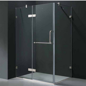 "32'' x 40"" Frameless 3/8'' Clear/Chrome Shower Enclosure"