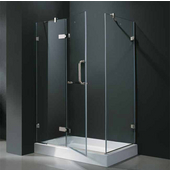 "32'' x 48"" Frameless 3/8'' Clear/Chrome Shower Enclosure with Left Tray/Base"