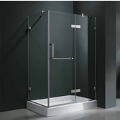 "32'' x 48"" Frameless 3/8'' Clear/Chrome Shower Enclosure with Right Tray/Base"