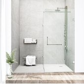 "36'' x 48"" Frameless 3/8'' Clear/Brushed Nickel Shower Enclosure"