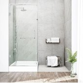"36'' x 48"" Frameless 3/8'' Clear/Brushed Nickel Shower Enclosure with Right Tray/Base"