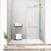 "36'' x 48"" Frameless 3/8'' Clear/Chrome Shower Enclosure"