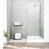 "36'' x 48"" Frameless 3/8'' Clear/Chrome Shower Enclosure with Left Tray/Base"
