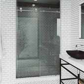VIGO Elan E-class 64'' W x 76'' H Frameless Sliding Shower Door in Chrome with Clear Glass