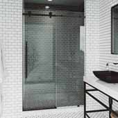 VIGO Elan E-class 64'' W x 76'' H Frameless Sliding Shower Door in Matte Black with Clear Glass