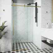 VIGO Elan E-class 60'' W x 66'' H Frameless Sliding Shower Door in Matte Brushed Gold with Clear Glass