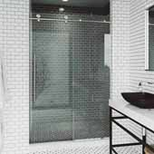 VIGO Elan E-class 64'' W x 76'' H Frameless Sliding Shower Door in Stainless Steel with Clear Glass