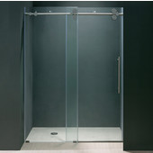 56'' Frameless Shower Door 3/8'' Thick Clear Tempered Glass and Chrome Hardware, 29-3/4'' W Door Size x 74'' Door Height