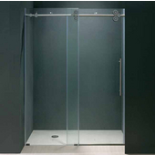 60-inch Frameless Shower Door 3/8'' Clear Glass Chrome Hardware