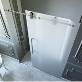 60-inch Frameless Shower Door 3/8'' Frosted Glass Chrome Hardware Left